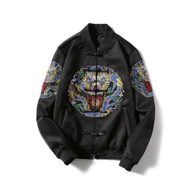 DRAGON BOMBER JACKET - BLACK - CLOUT CULTURE