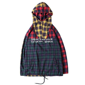 PLAID PULLOVER JACKET - GREEN RED/YELLOW - CLOUT CULTURE