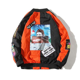 """GROOVY"" ZIP-UP JACKET - BLACK/ORANGE - CLOUT CULTURE"