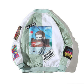 """GROOVY"" ZIP-UP JACKET - WHITE/MINT GREEN - CLOUT CULTURE"
