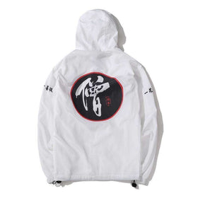 MONK TIES WINDBREAKER JACKET - WHITE - CLOUT CULTURE