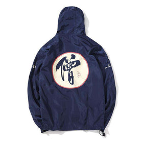 MONK TIES WINDBREAKER JACKET - NAVY BLUE - CLOUT CULTURE