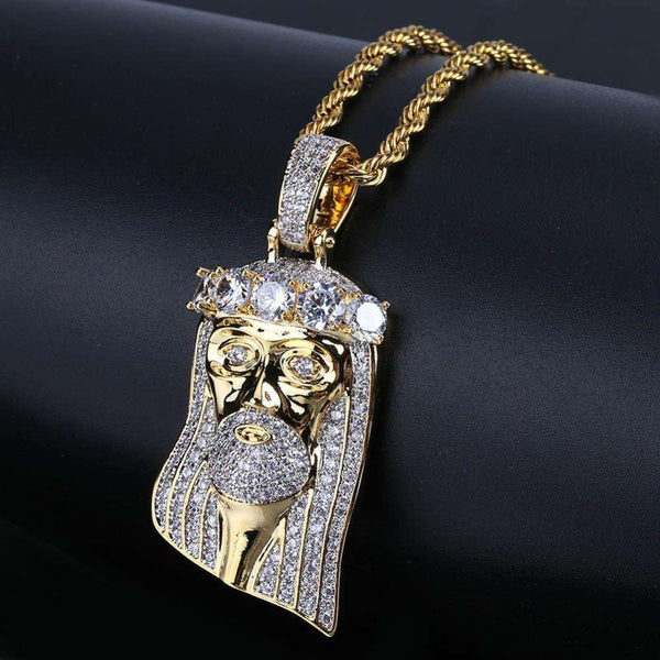 ICED OUT PLATINUM JESUS PIECE ROPE CHAIN - GOLD - CLOUT CULTURE