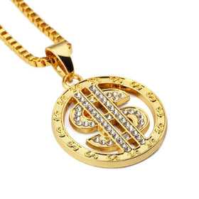 ICED OUT DOLLAR SIGN CHAIN - GOLD - CLOUT CULTURE