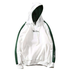 """WHITE"" LONG SLEEVE HOODIE - WHITE/GREEN - CLOUT CULTURE"