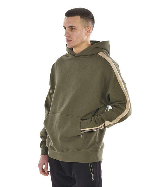 CUSTOM ZIPPED SLEEVE RETRO HOODIE - OLIVE GREEN - CLOUT CULTURE