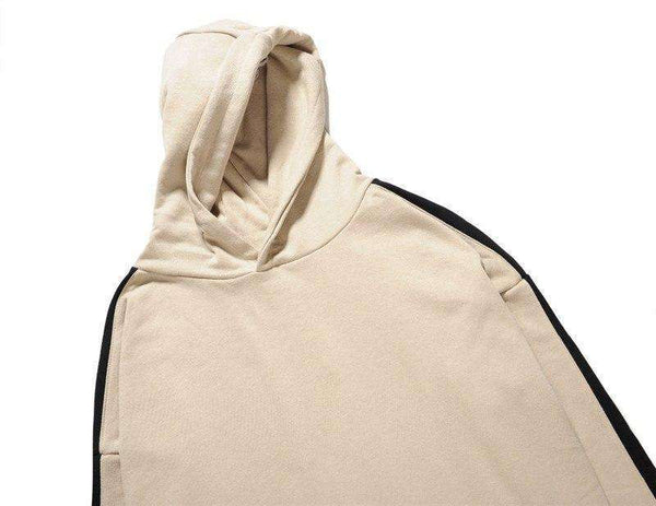 CUSTOM ZIPPED SLEEVE RETRO HOODIE - BEIGE - CLOUT CULTURE
