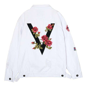 DEADROSES DENIM JACKET - WHITE - CLOUT CULTURE