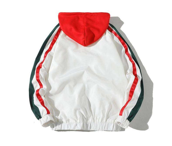 RETRO ZIP-UP HOODIE - WHITE RED/GREEN - CLOUT CULTURE