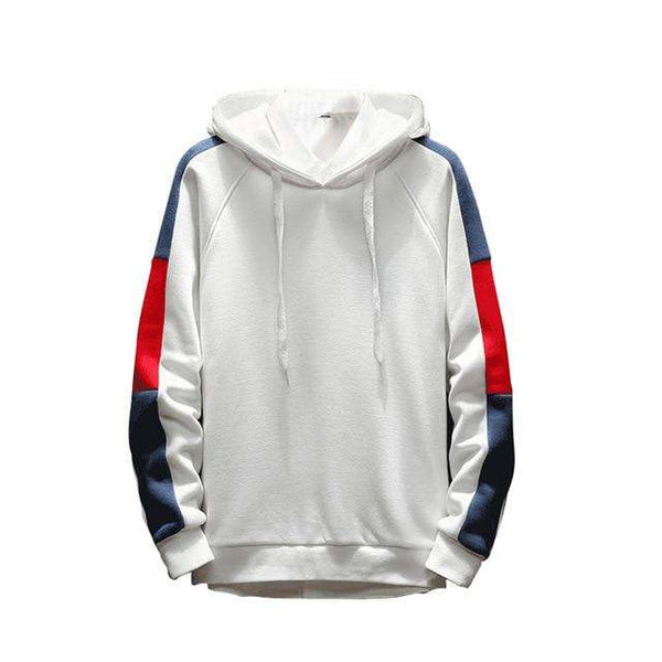 STRIPED RETRO HOODIE 2.0 - WHITE BLUE/RED - CLOUT CULTURE