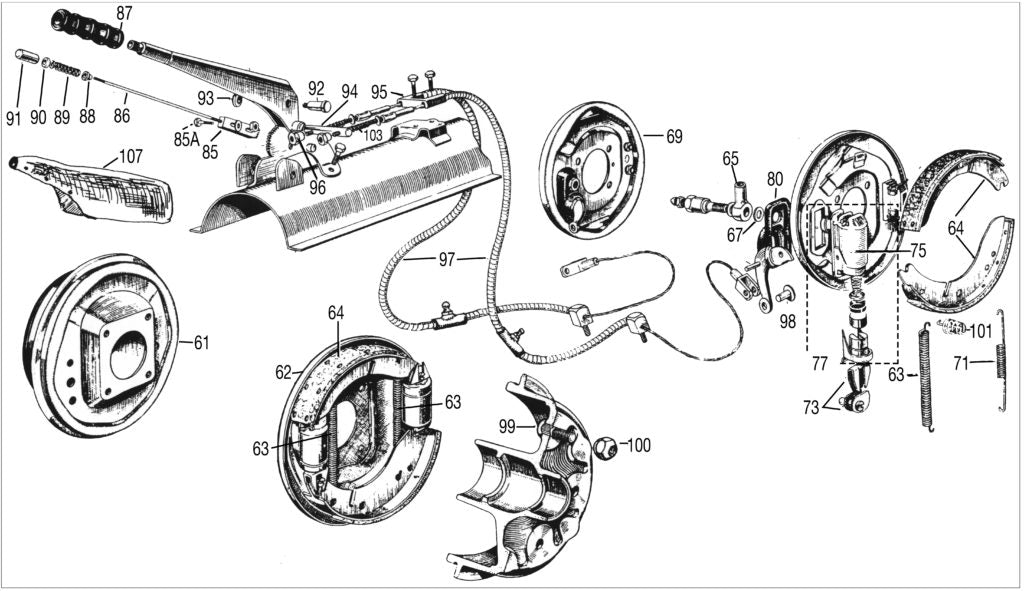 MG T-series Brake Parts diagram TD-TF