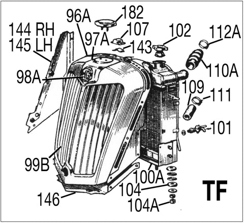 MG TF Chassis Parts Diagram Front Grille