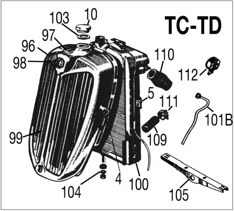 MG TC-TD Chassis Parts Diagram front grille