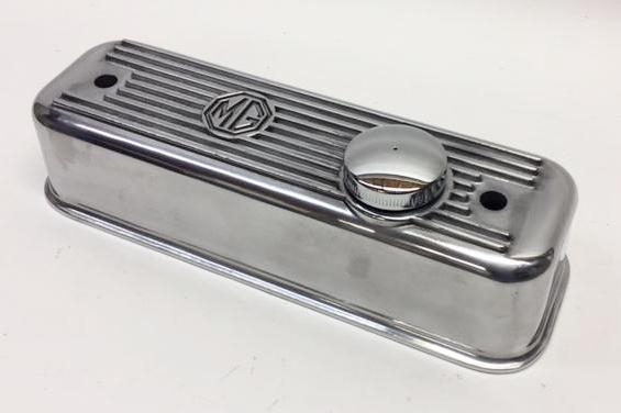 MGB Polished Cast Aluminum Valve Cover with vented cap