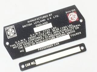 Car Number Plate, MGB, 2 piece set