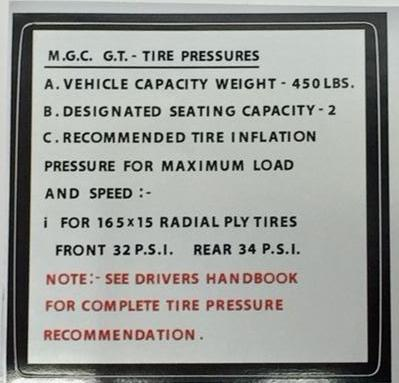 TIRE PRESSURE STICKER, MGC GT