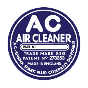 AC Air Filter Decal TR2/TR3