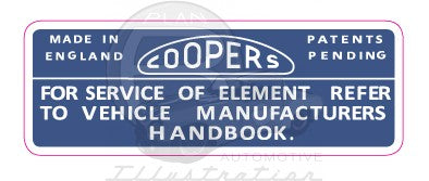 Coopers Air Cleaner Decal (late)