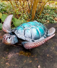 Load image into Gallery viewer, medium blue sea turtle statue for sale