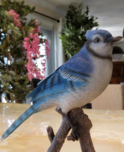 Load image into Gallery viewer, blue jay on a branch statue