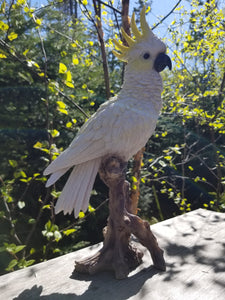 cockatoo on a branch statue