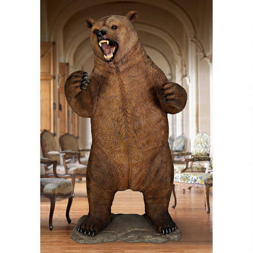 lifesize growling grizzly bear statue