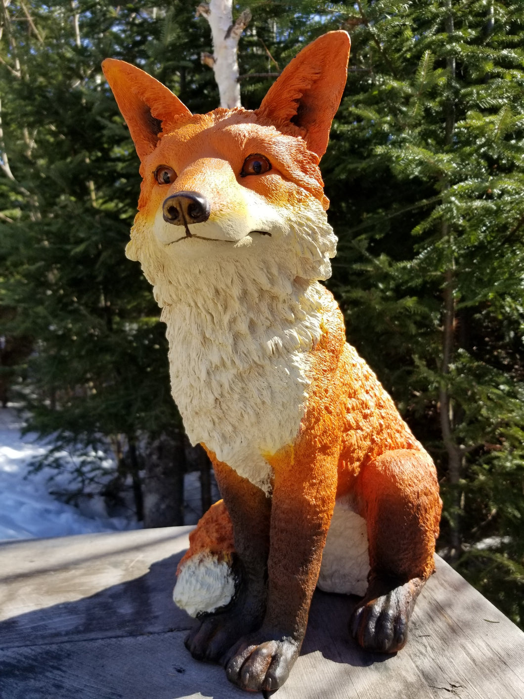 sitting red fox statue for sale