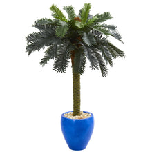 Load image into Gallery viewer, 4 foot artificial sago palm in blue planter for sale