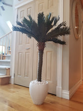 Load image into Gallery viewer, 4 foot artificial sago palm in white planter for sale