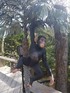 Hanging Chimpanzee Statue outdoors with palm trees