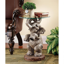 Load image into Gallery viewer, elephant glass top good fortune trunk up table for sale