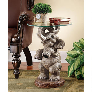elephant glass top good fortune trunk up table for sale