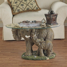 Load image into Gallery viewer, mother and calf elephant glass top table for sale