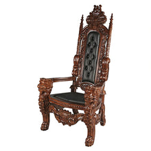 Load image into Gallery viewer, regal lion mahogany throne