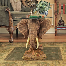 Load image into Gallery viewer, trophy elephant glass top table for sale