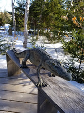 Load image into Gallery viewer, walking crocodile statue outdoors