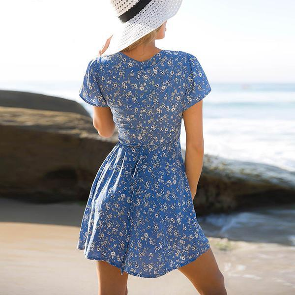 Blue Floral Print Plunge Short Sleeve Mini Wrap Dress