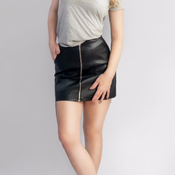 Leather Mini Skirt With Pockets