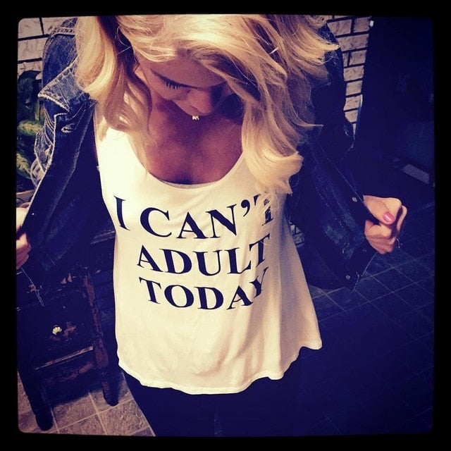 "Funny Print ""I Can't Adult Today"" Vest Top"