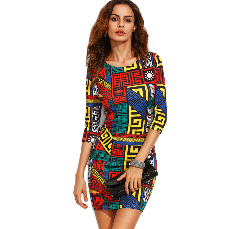 Long Sleeve Multicolour Bodycon Dress