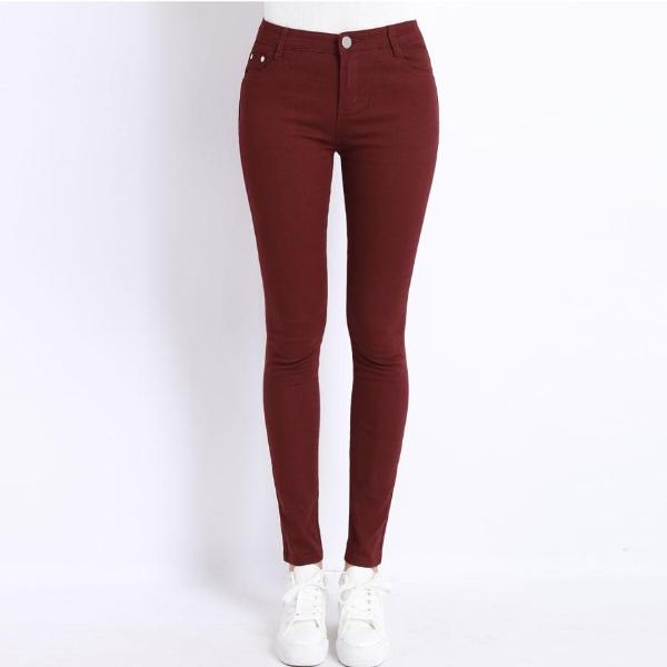 Wine Red Color Stretch Jeans