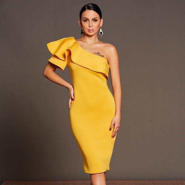 Yellow One Shoulder Ruffled Elegant Midi Dress