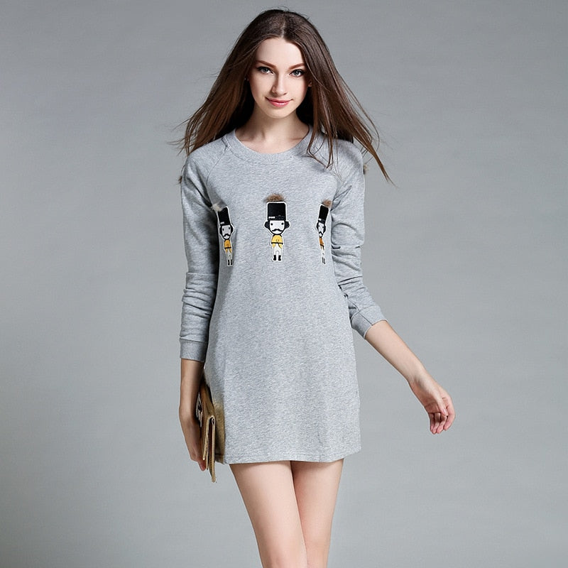 Loose Long-Sleeve Short Dress