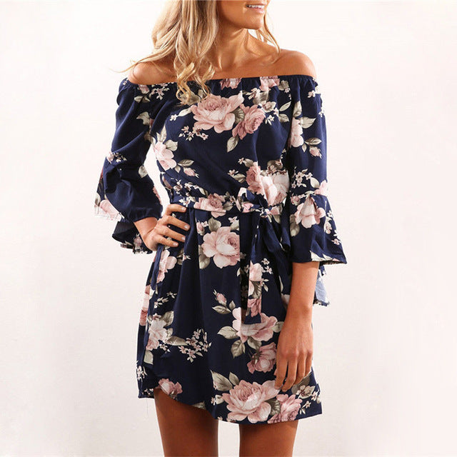 Navy Off Shoulder Floral Print Chiffon Dress
