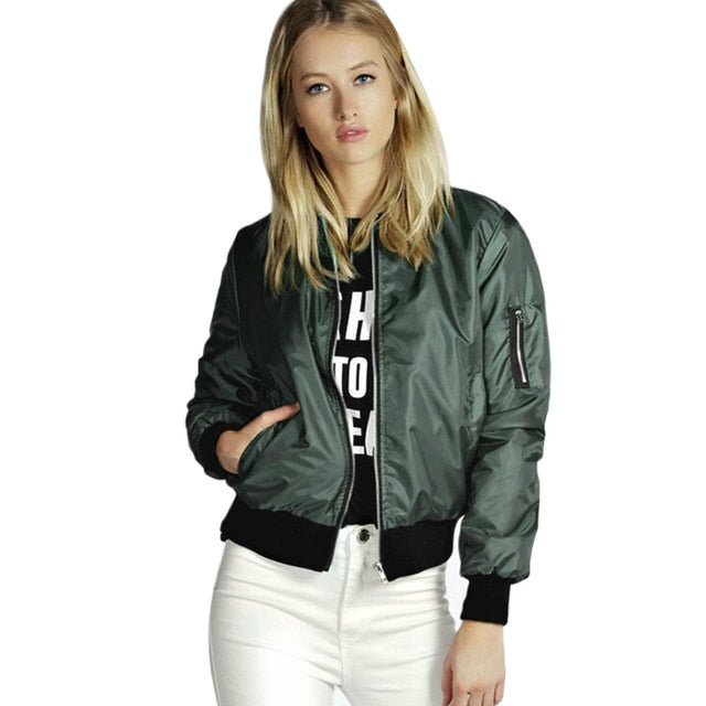 Green Basic Stand Collar Long Sleeve Bomber Jacket