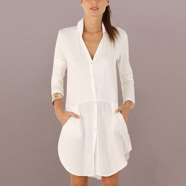 Sensual Long Sleeve Mini Shirt Dress