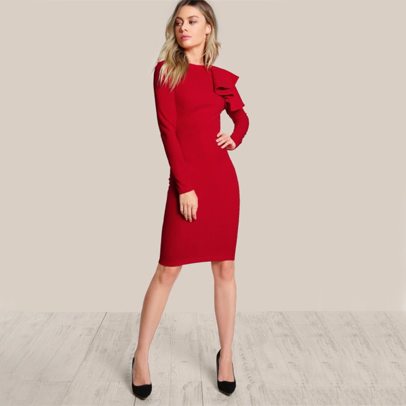 Elegant Red Bodycon Dress