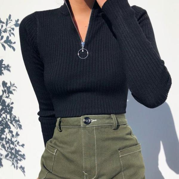 Black Turtleneck Cropped Sweater