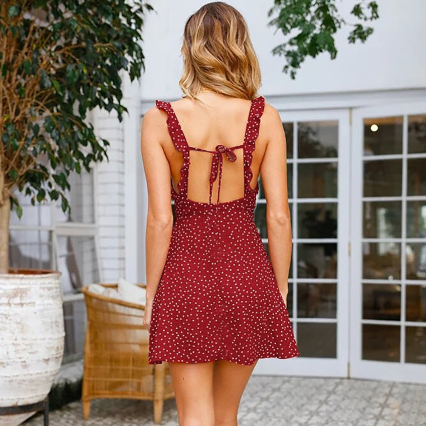 Red Tie Short Polka Sun Dress
