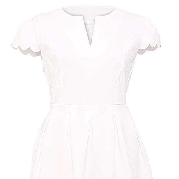 White Detail Pleated Skater Dress
